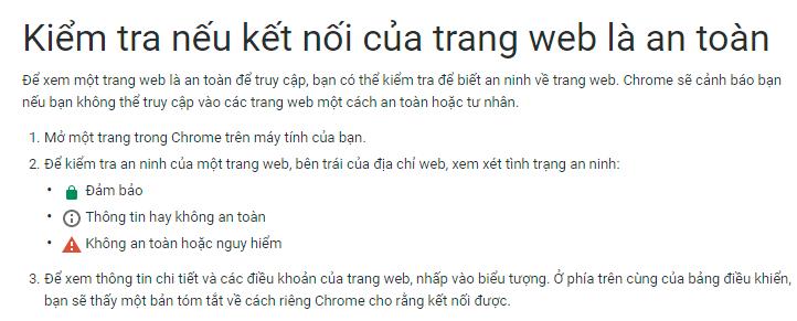 Kết nối đến trang web an toàn, tin cậy